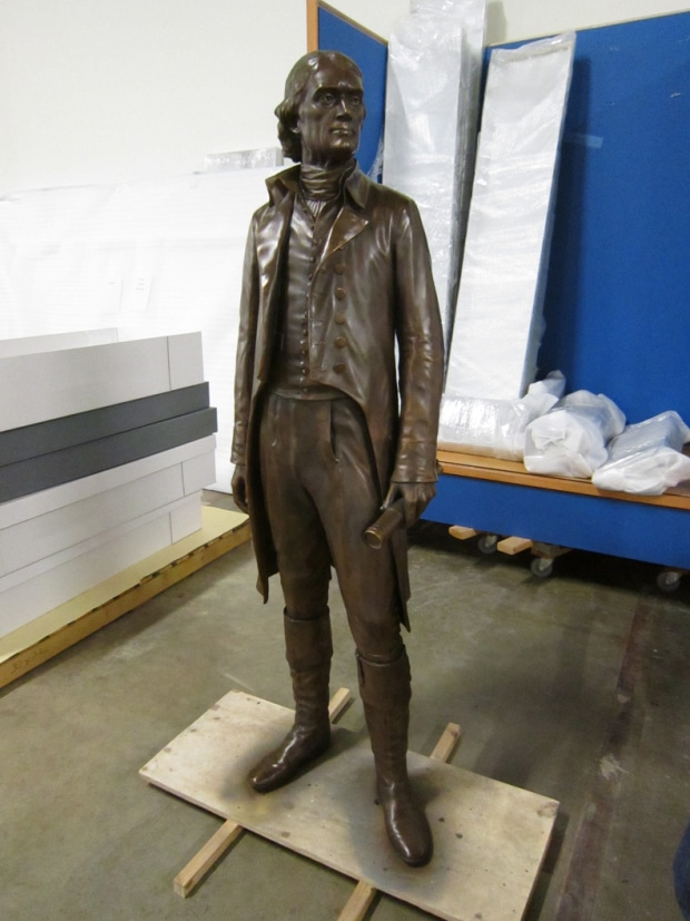 The Thomas Jefferson statue from Monticello, scanned, 3D printed, reassembled, and painted bronze