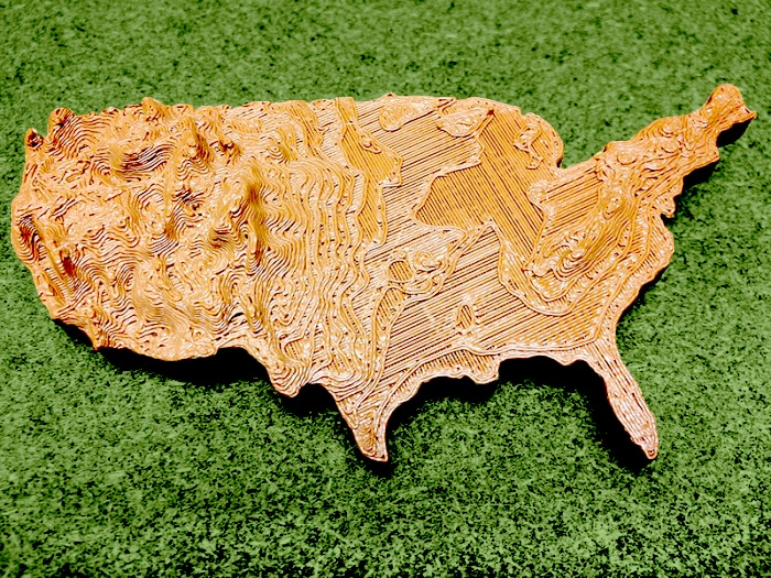 Creating An Awesome Terrain Map With A MakerBot - 3d topographical map of us