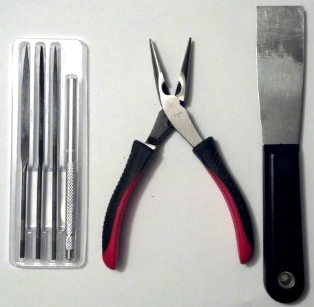 Favorite Tools - files, pliers, and putty knife