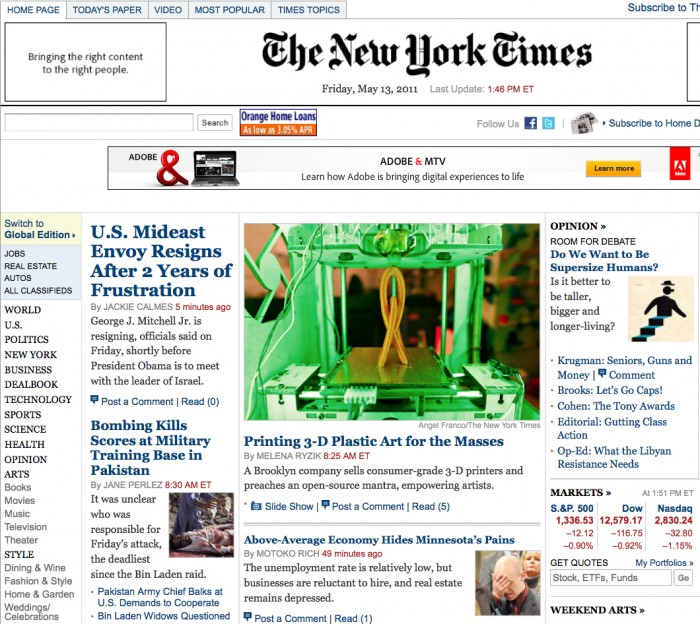 MakerBot Artists and Operators in the NYTimes