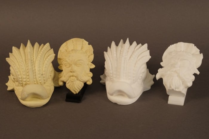 Plaster originals at left, Digitized and Replicated versions at right.